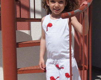 hand painted original summer dress for 5 / 6 years old girl, with handpainted ornament red birds, gift love little girls clothing