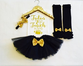 tutus and touchdowns, black and gold, football outfit tutus and touchdowns outfit baby girl football tutu touchdowns shirt football onesie