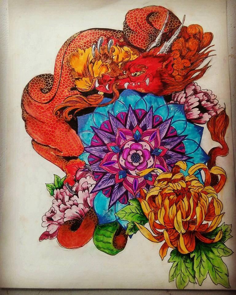 Red dragon mandala - Mandala dragon ...