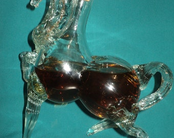 "Decorative bottle of ""HORSE"". Art Glass."