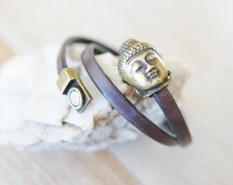 Leather Wrap Bracelet/leather bracelet/wrap bracelet/Buddha leather bracelet/Buddha bracelet/bracelets/fall fashion/leather strap/buddha