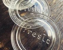 Rare Vintage Clear Presto Glass Mason Jar Lid Inserts Set of 3