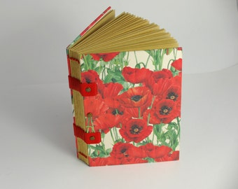 Notebook or diary, covered in poppies, Coptic binding, leaves kraft, pregnancy journal, travel diaries