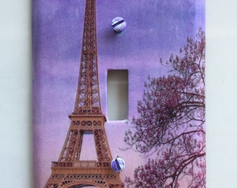 Eiffel Tower Switch Plate cover single toggle cover of Paris tower beautiful light switch plate cover in decoupage single switchplate cover