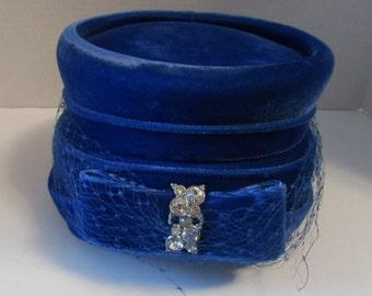 Vintage Royal Blue Velvet Hat Bow & Rhinestone Decoration