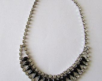 Vintage Black & Rhinestone Necklace