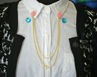 SET of TWO Collar Chain Pins with Gold Chain, Sweater Clip/Pin, Interchangeable Pins for Collar, Necklace Alternative