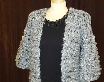 Super chunky hand knitted grey cardigan size 8