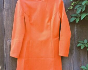 Vintage 60s Coral Mini Dress - Size S