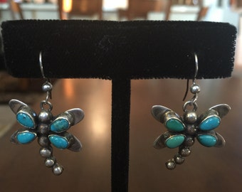 Native American Turquoise and Silver Dragonfly Dangle Earrings