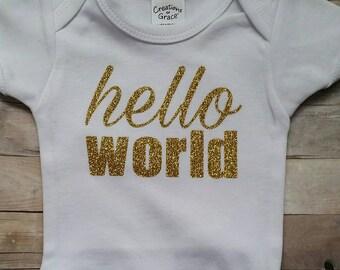 Newborn hello world onesie, baby bodysuit babies first outfit.
