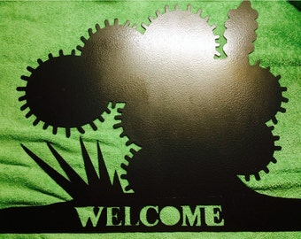 "Cactus welcome sign/cactus/great metal art sign/18"" x 14"""