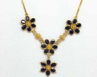 14K Yellow Gold Natural Sapphire Flowers Neckalce