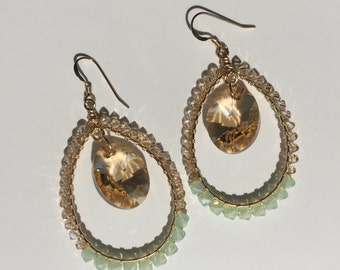 GRETCHEN  EARRING * golden and sea glass