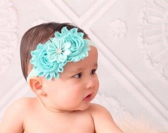 Baby headband - aqua headband - girls headband - shabby chic headband - aqua baby headband - girls headband - infant - hair band