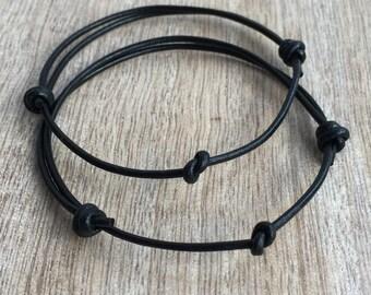 Simple Bracelet, Couple Bracelets, His and her Bracelet, Leather Bracelet, His and Hers Gifts, Infinity Couple Bracelet, Minimalist LC001162