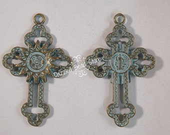 Patina Antique Bronze religious CROSS PENDANT double sided 52 x 33mm