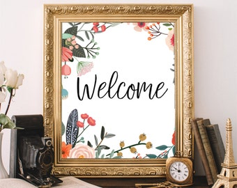 Welcome Sign, Floral Welcome Print, Housewarming Gift, Printable Wall Art