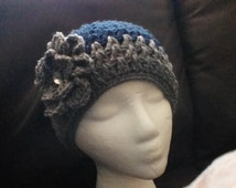 Adult grey and navy blue crochet hat