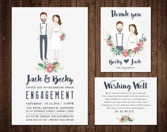 Engagement / Wedding Invitation - Custom Illustrated Portrait Set