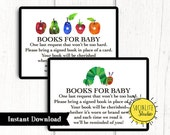 Hungry Caterpillar Baby Shower Book Request Card, Gender Neutral Printable Shower, DIY Shower, First Birthday, Book Worm