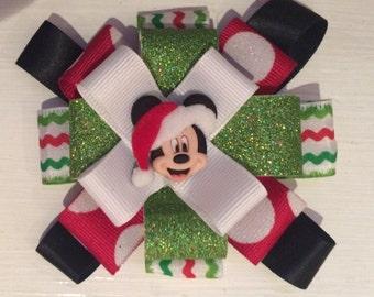 Mickey mouse christmas hair bow