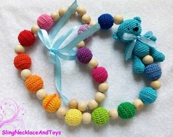 Teddy bear nursing jewelry teddy bear necklace teether teething necklace nursing necklace teething breastfeeding babywearing chewelry
