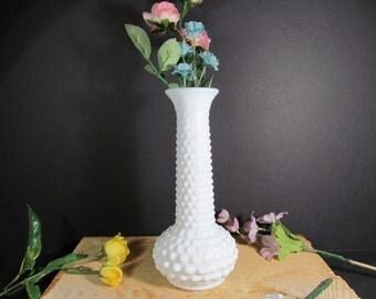 Milk Glass, Hobnail, Wedding Vase, E.O. Brody Vintage Farmhouse Decor