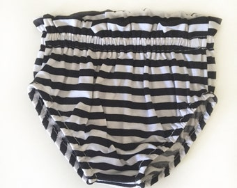 Black and white stripe ruffle bloomers