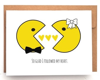 Love Card, Funny Card, Pac Man card, Pac Man, Anniversary Card, birthday cards for him, birthday cards for her, i love you cards