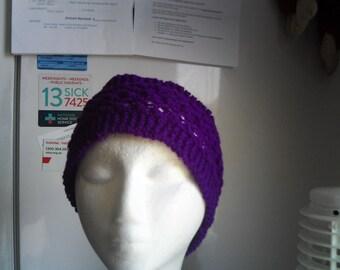 handknitted purple lace headband