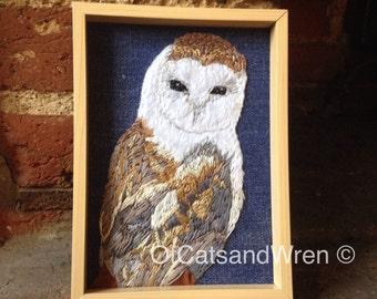 Hand Embroidery - Barn Owl