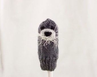 Bearded Seal Finger Puppet | Handknit | Wool