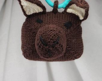 Brown Bunny Rattle   Handknit   Cotton