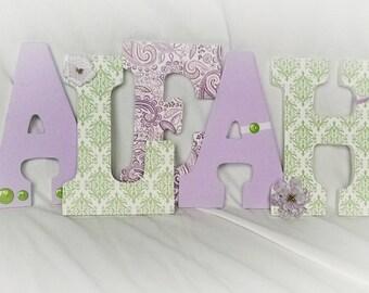 wooden letters for nursery, hanging letters for girl, lavender and green nursery decor, girl nursery letters, girl room decor