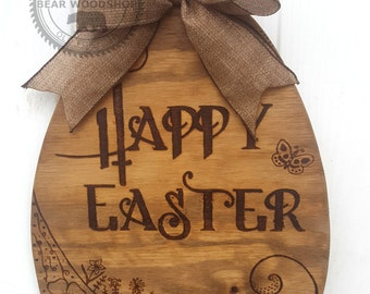 Small Personalized Easter Egg Spring Wreath - Handmade Wood Burning Art, Pyrography, Easter Wreath, Home Decoration, Front Door Decor