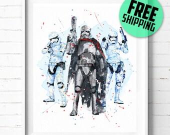 Star Wars Captain Phasma and Stormtrooper print,  Star Wars Stormtrooper and Captain Phasma print, Star Wars poster, wall art, [351] decor
