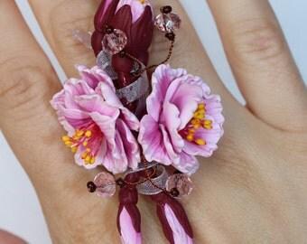 Sakura Ring, Sakura Ring - cherry blossom flowers Ring - Adjustable Ring