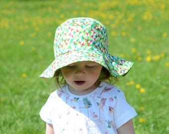 Girls Summer Hat With Brim, Kids Summer Hat, Toddler Girl Sun Hat, Cotton Girls Hat, Cotton Beach Hat, Girls Beach Hat, Toddler Girls Hat