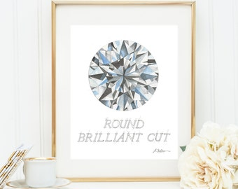 Round Brilliant Cut Diamond Watercolor Rendering printed on Paper