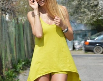 Womans Casual Set, Yellow Cotton Elegant Pants And Top, Tight Shorts, Asymmetric Sleeveless Top By SSDfashion