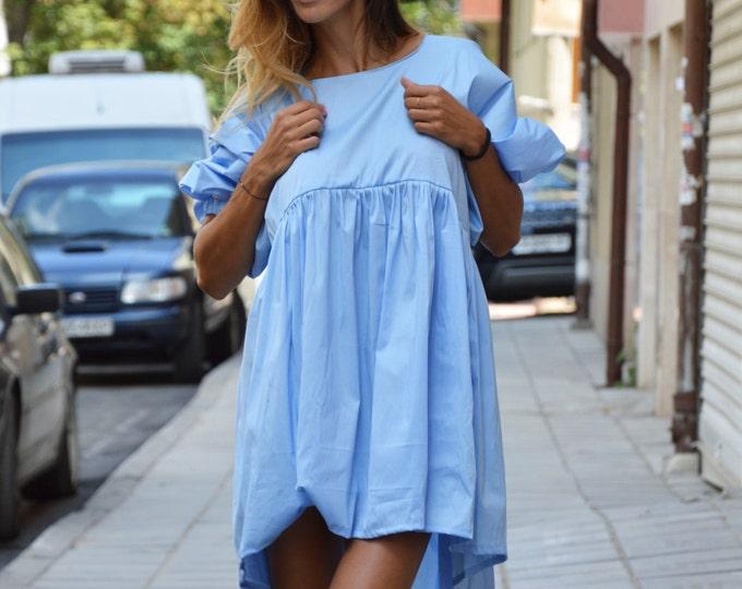 Oversize Light Blue Cotton Shirt, Hot Maxi Loose Shirt, Extravagant Plus Size Top, Party Shirt by SSDfashion