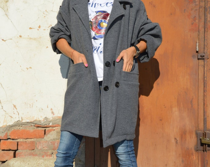 Woman's Coat, Grey Cashmere Coat, Extravagant Jacket, Casual Coat, Asymmetrical Coat, Grey Pattern Cardigan By SSDfashion