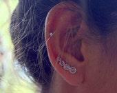 Moonstone Ear Crawlers - Sterling Silver Earrings - Ear Climbers