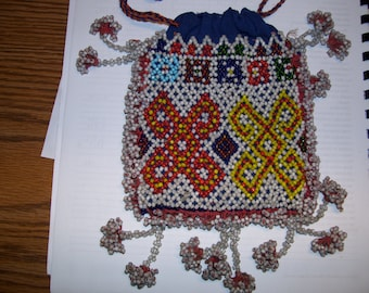 Beaded Indian Purse with draw string