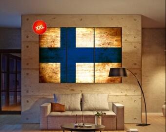 Finland flag canvas art print large wall art canvas print Finland country flag Wall Home office decor interior Office Decor