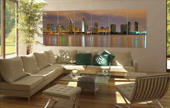 6 panels / boards Downtown of San Diego at night Large panorama panoramic canvas wall art art