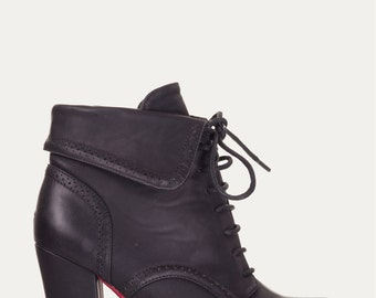 Rockabilly Red And Black Vintage Style Lace Up Booties / Ankle Boots