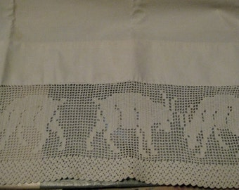 Wonderful Filet Crochet Cotton Trimmed Pillowcase, Goats!