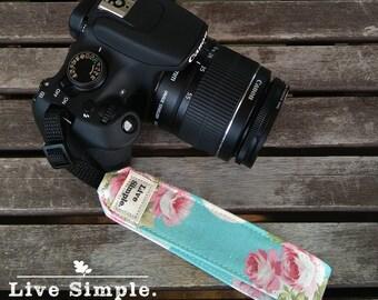 DSLR Wrist Camera Strap Sweet Roses | Accessories | Soft Cotton | Live Simple®